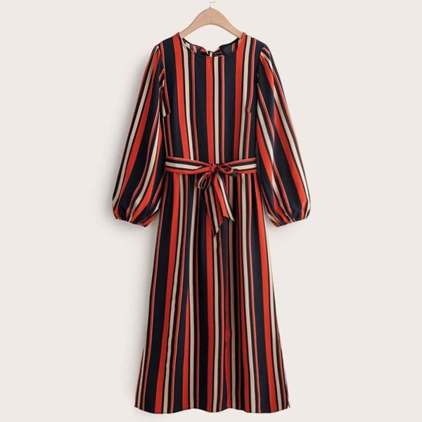 Vertical Striped Self Tie Dress, Multicolor