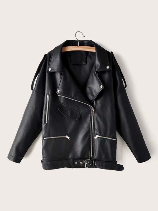 Zip Detail Buckle Belted PU Moto Jacket