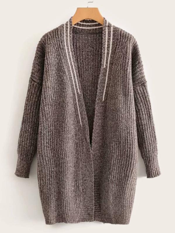 Ribbed Knit Striped Drop Shoulder Cardigan