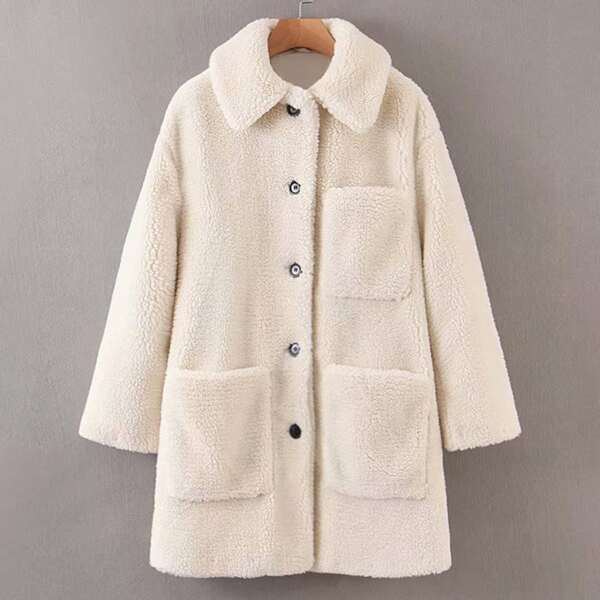 Pocket Patched Button Up Teddy Coat, Beige