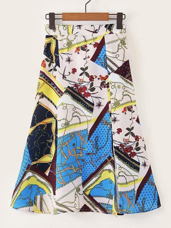 Scarf Print Split Front Skirt