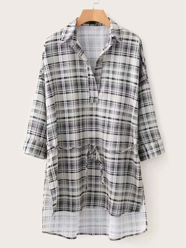 Plaid Print High Low Self Tie Blouse
