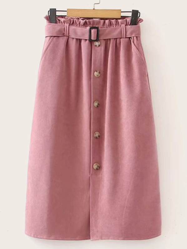 Paperbag Waist Button Detail Belted Skirt