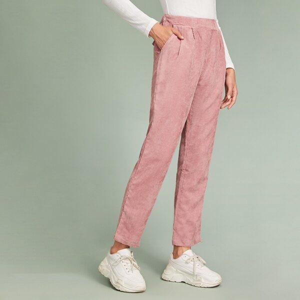 Faux Flap Pocket Back Cord Peg Pants, Pink
