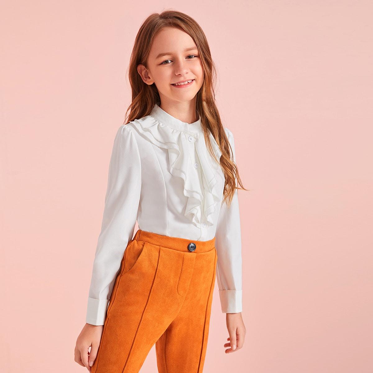 Блуза на пуговицах с оригинальным воротником для девочек от SHEIN