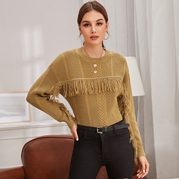 Fringe Detail Cable Knit Sweater