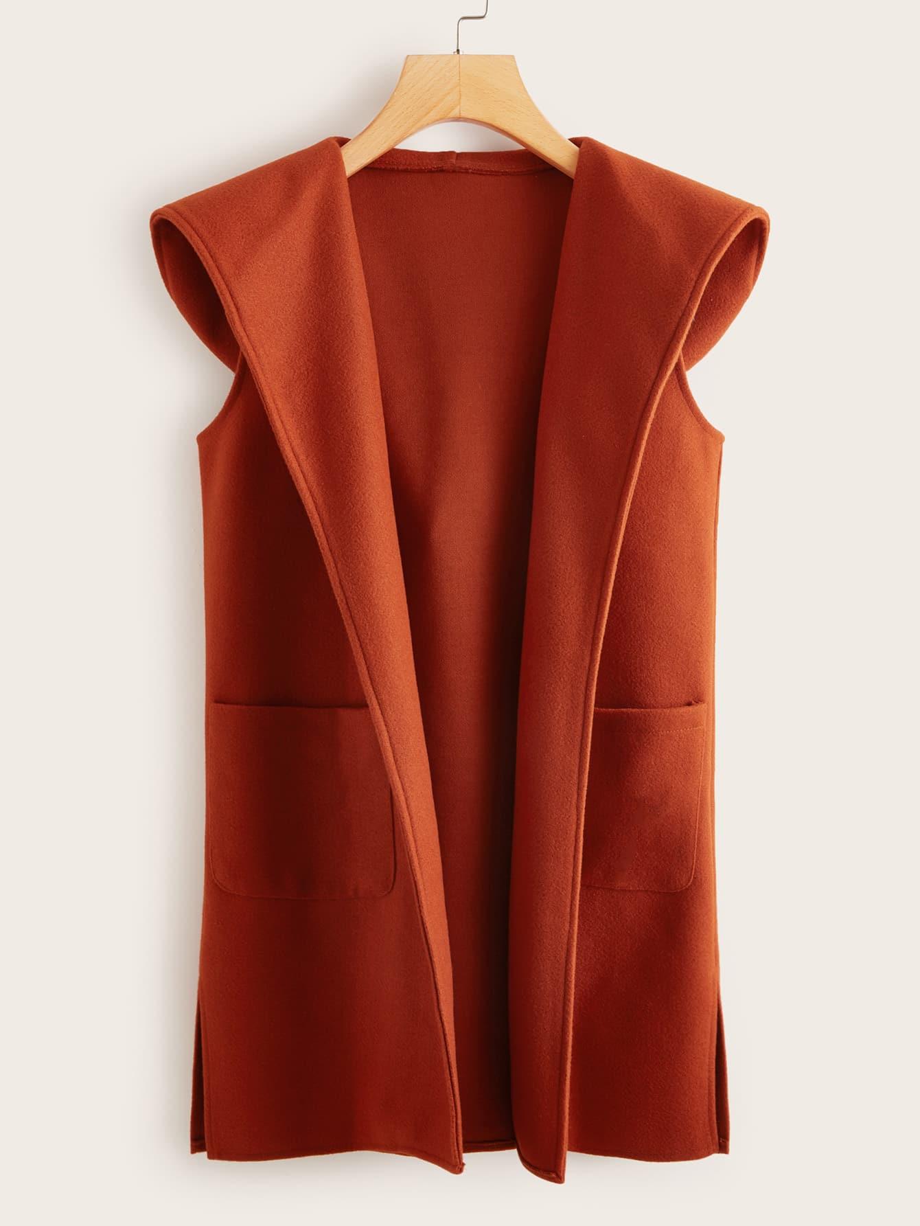Однотонное пальто-жилет с капюшоном и карманом
