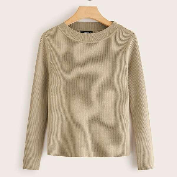Plus Button Detail Rib-knit Sweater, Khaki
