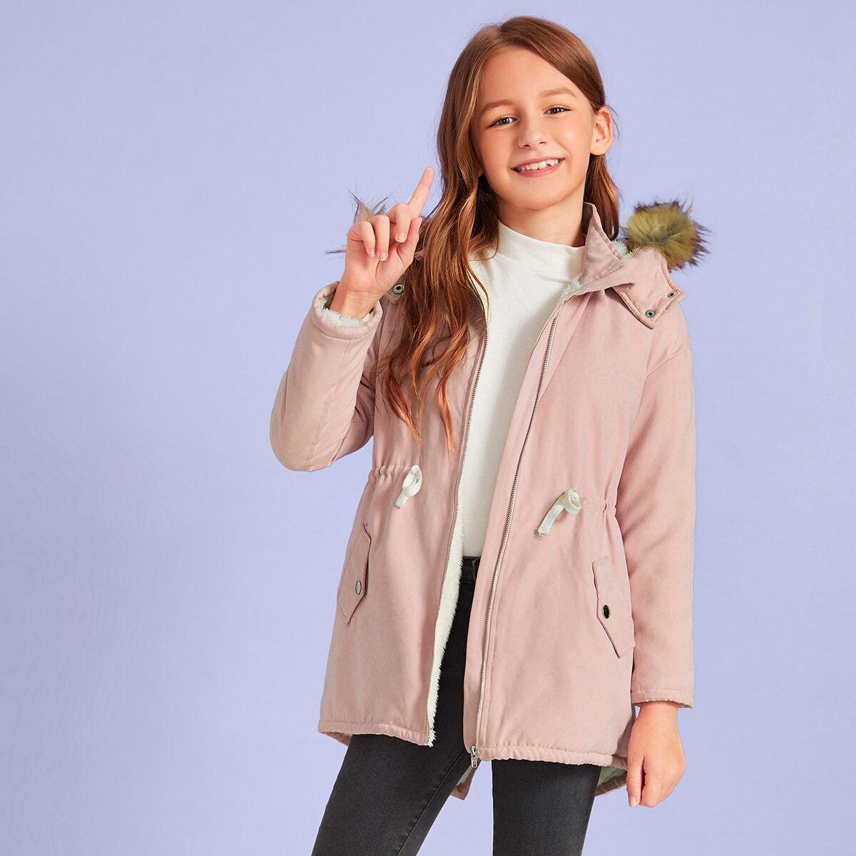 Зимнее пальто на кулиске для девочек от SHEIN