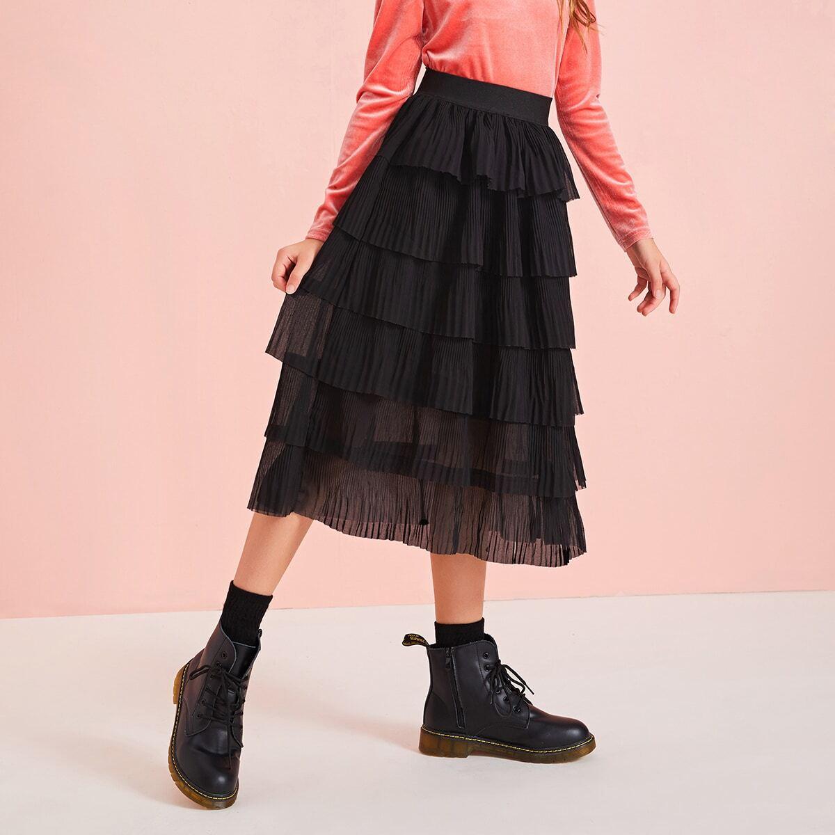 Шифоновая юбка с многослойными оборками для девочек от SHEIN