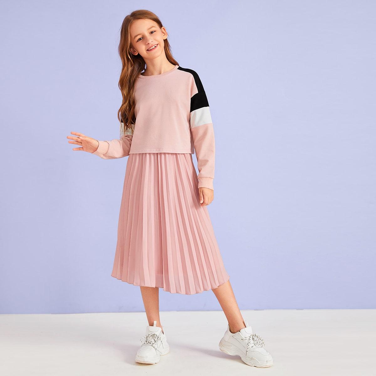 Контрастный пуловер и плиссированная юбка для девочек от SHEIN