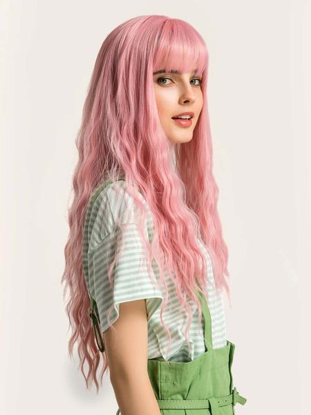 Natural Long Curly Wig With Bang