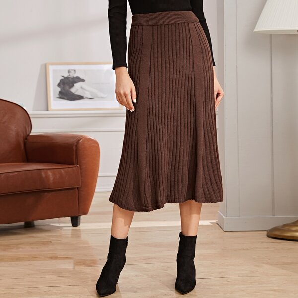 Solid Ribbed Knit Sweater Skirt