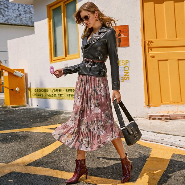 Botanical Print Paperbag Waist Pleated Skirt