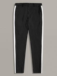 Men Contrast Tape Striped Pants