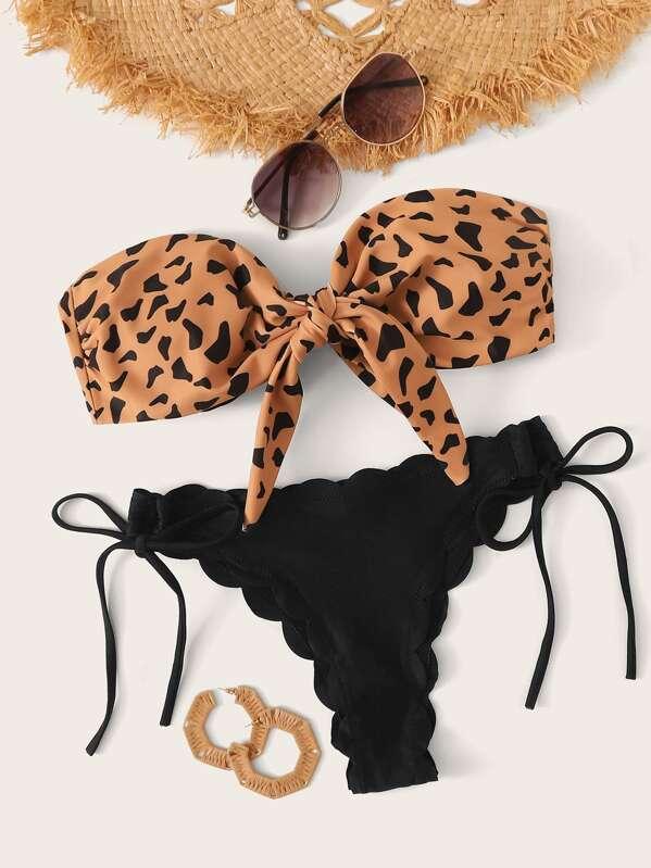 Leopard Knot Front Bandeau Bikini Set