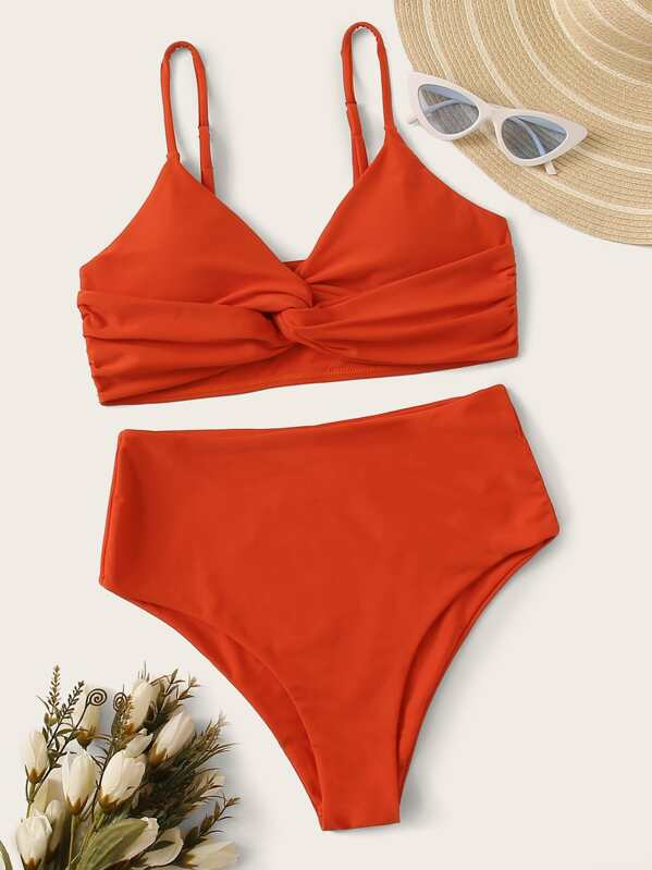 Twist Top With High Waist Bikini Set