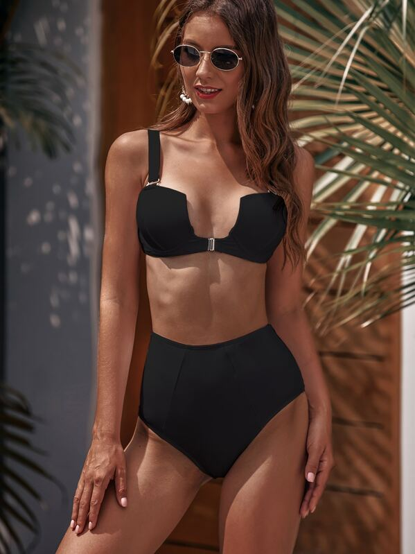Underwire Top With High Waist Bikini Set