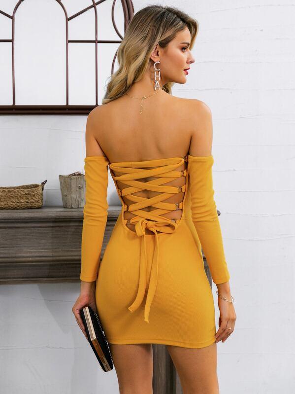 Glamaker Lace Up Back Bardot Bodycon Dress