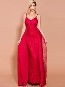 Length   Sequin   Floor   Dress   Prom   Mesh
