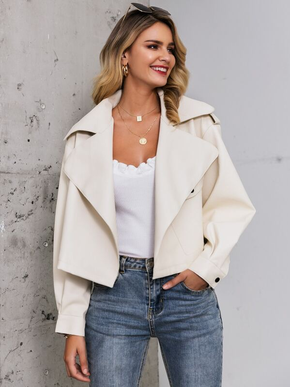 Glamaker Exaggerate Notch Collar Faux Leather Jacket
