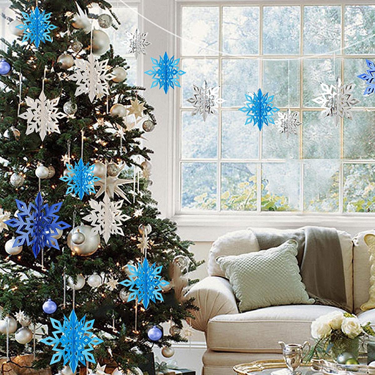 6 stks Sneeuwvlok Papier Fan Kerstdecoratie
