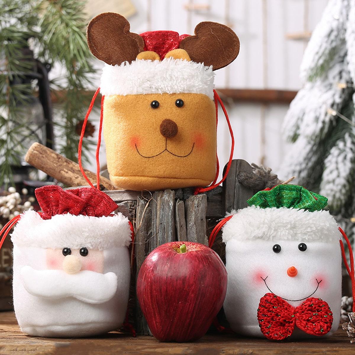 1pc kerst niet-geweven stoffen snoepzak
