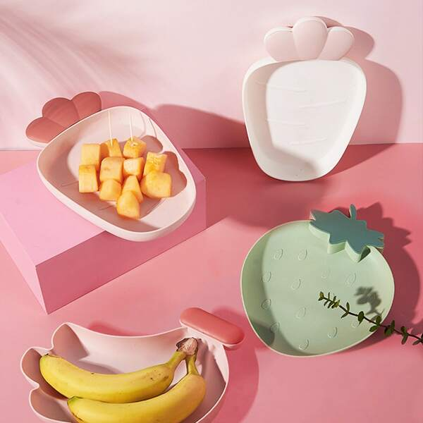 1pc Cute Fruit Shaped Plastic Plate