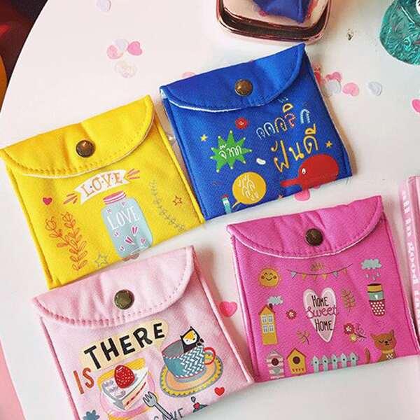 1pc Cartoon Graphic Sanitary Towel Storage Bag