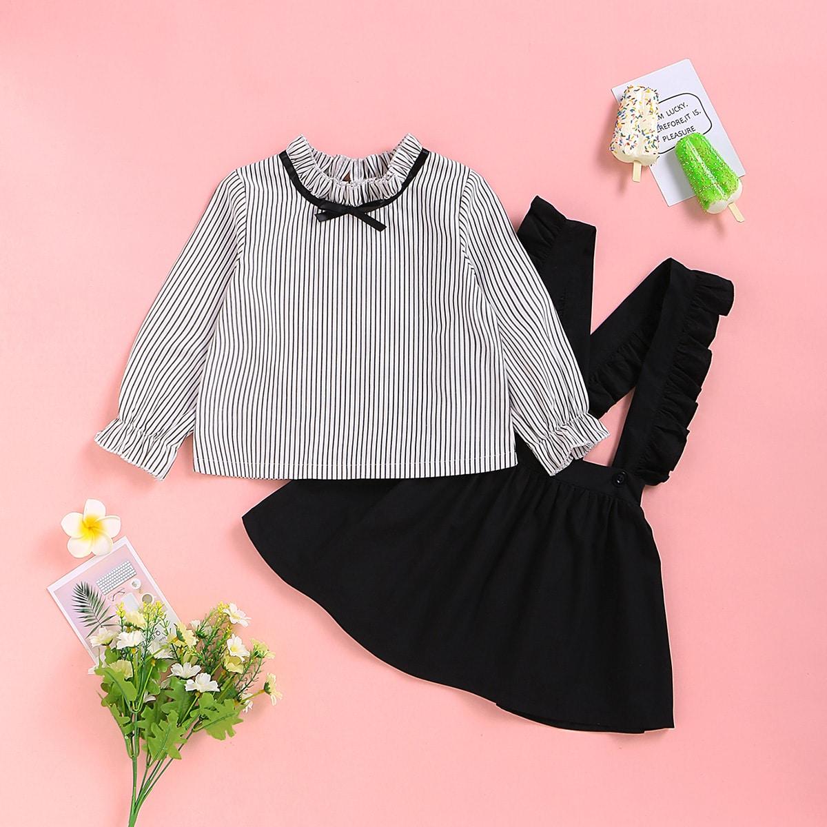 Сарафан-юбка и блуза в полоску для девочек от SHEIN
