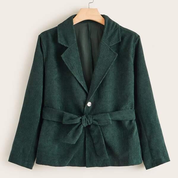 Plus Lapel Collar Self Tie Corduroy Blazer, Green
