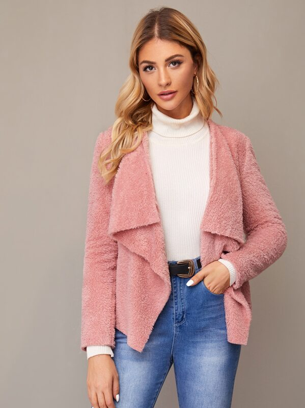 Solid Funnel Neck Open Front Teddy Coat, Nathane
