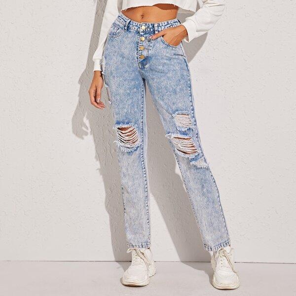 Ripped Button Fly Bleach Wash Boyfriend Jeans