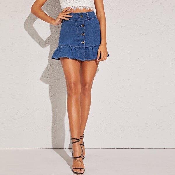Button Front Ruffle Hem Denim Skirt, Blue