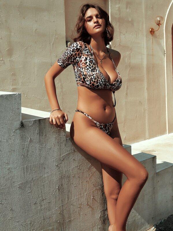 3piece Leopard Co-ord Bikini Set