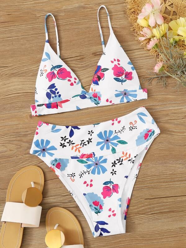 Floral Random Print Bikini Set