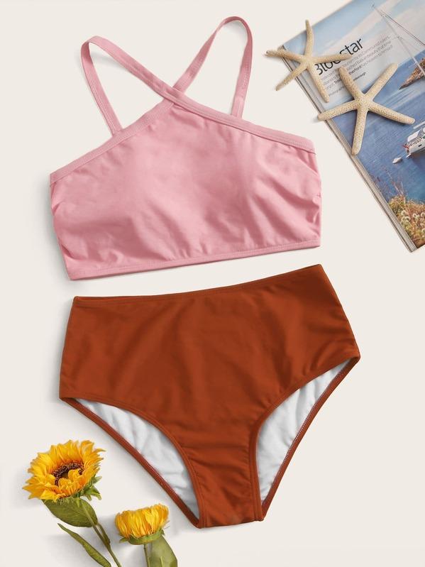 Two Tone Halter Top With High Waist Bikini Set
