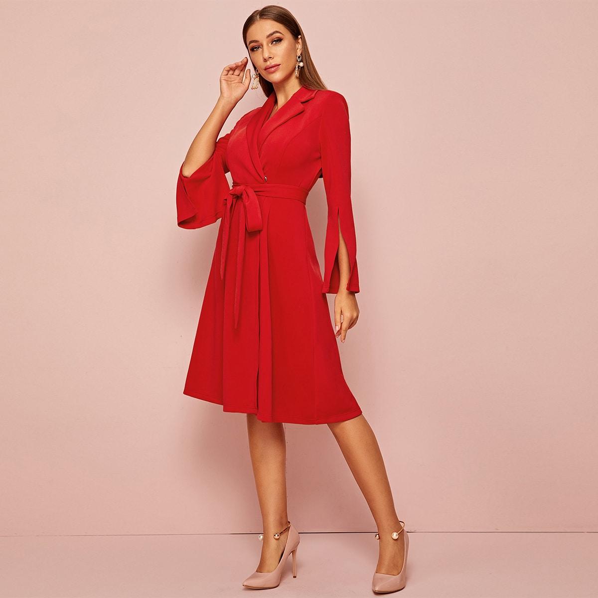 Платье-пиджак с разрезным рукавом и поясом от SHEIN
