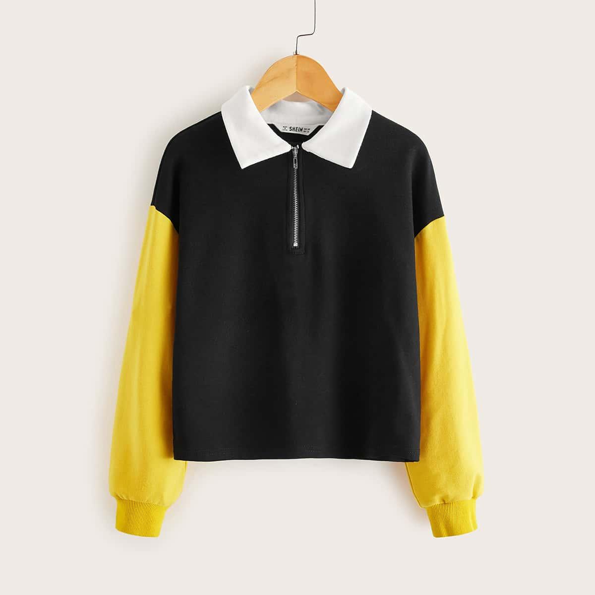 Контрастный пуловер на молнии для девочек от SHEIN