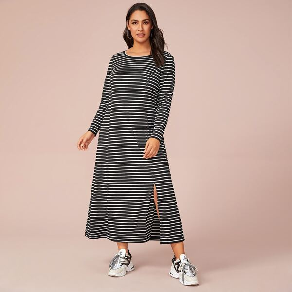 Plus Split Hem Striped Dress, Black