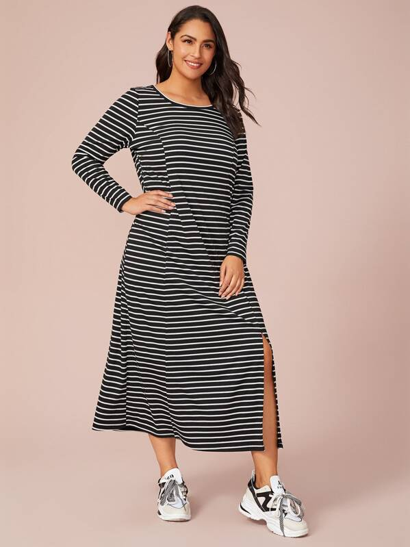 Plus Split Hem Striped Dress, Black, Ruiz Brianna