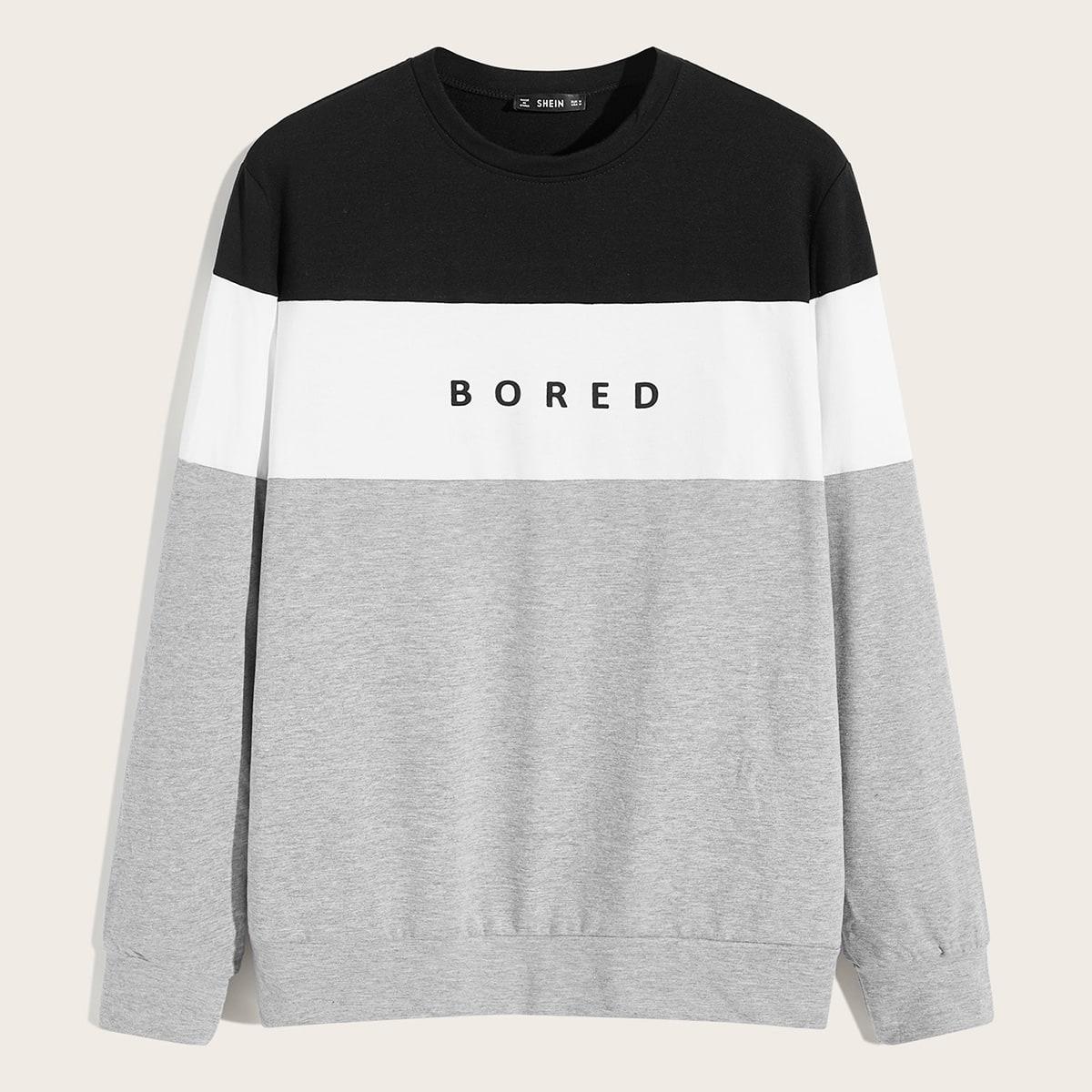 Мужской контрастный пуловер с текстовым принтом от SHEIN