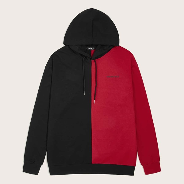 Men Letter Graphic Two Tone Drawstring Hoodie