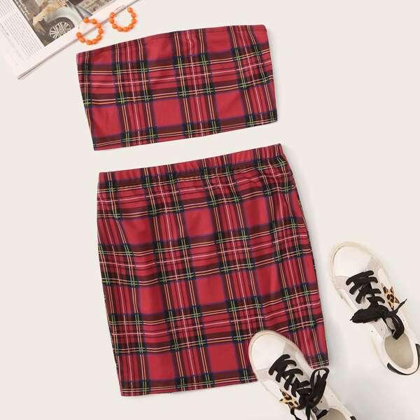 Tartan Bandeau & Skirt Set