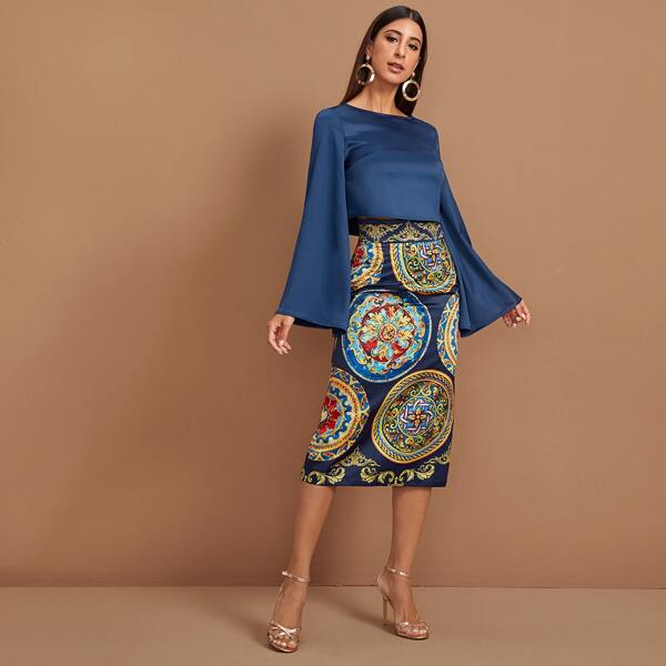 Solid Bell Sleeve Top & Tribal Print Satin Skirt Set, Multicolor