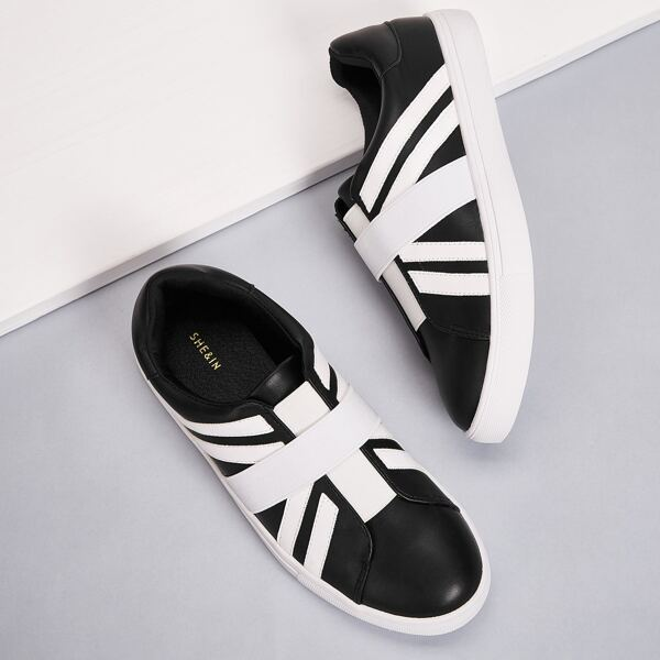 Two Tone Low Top Sneakers, Black and white