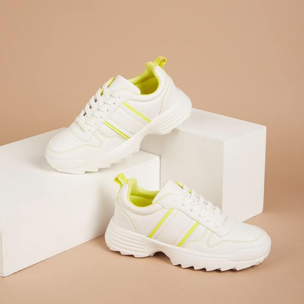 Two Tone Lace-up Sneakers, White
