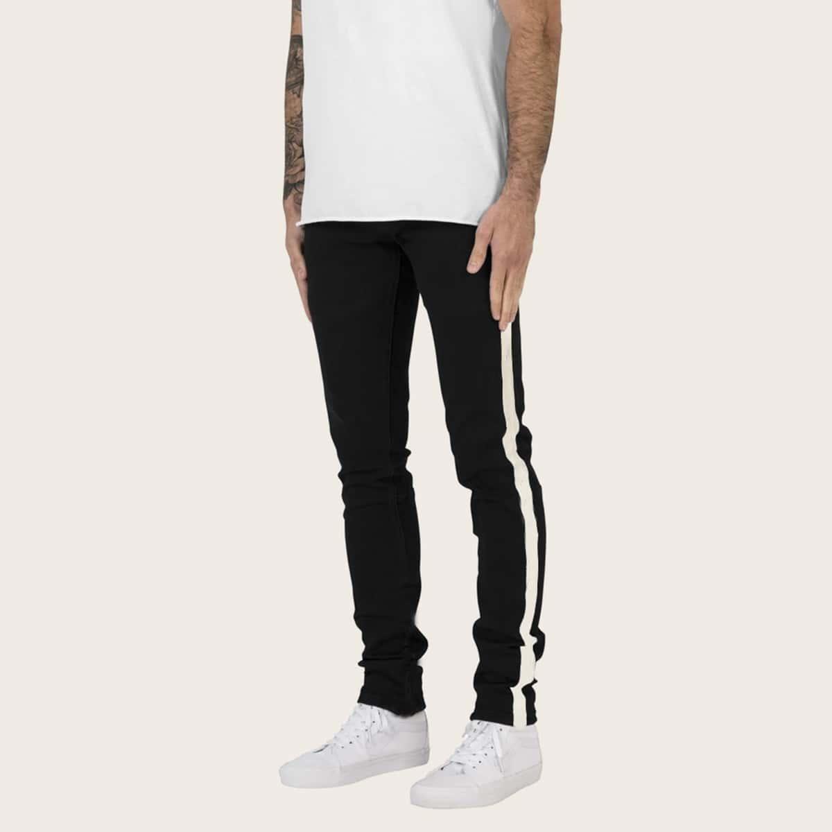 Zwart Casual Kleurblok Heren Jeans