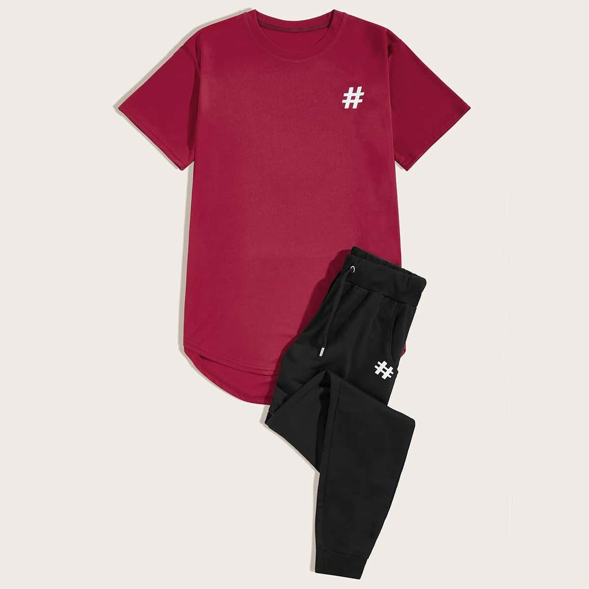 Мужские асимметричная футболка и брюки от SHEIN