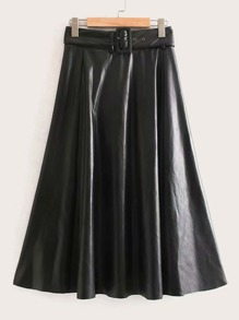 Self Tie Flared PU Leather Skirt